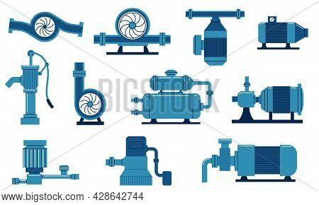 Water Pump. Electric Machine With Compressor, Aqua Tank And Motor. Gas And Oil Plumbing System. Cist