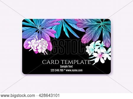 Plastic Debit Or Credit, Pass, Discount, Membership Card Template With Tropical Plants In Neon Color