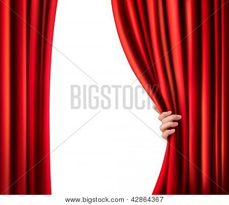 Background with red velvet curtain. Vector illustration