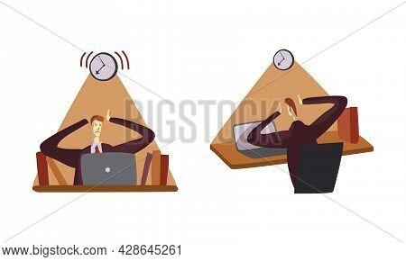 Man Office Worker At Desk Struggle With Urgent Task As Time Management And Workload Deadline Pressur
