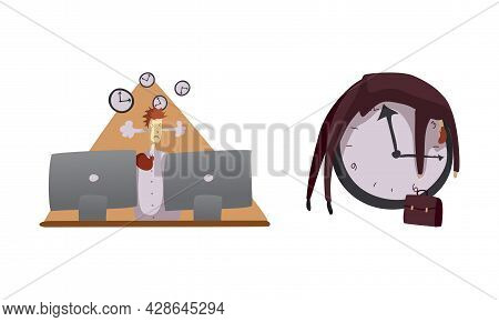 Man Office Worker Burnout From Multitasking As Time Management And Workload Deadline Pressure Vector