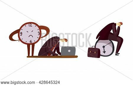 Man Office Worker And Clock As Time Management And Workload Deadline Pressure Vector Set