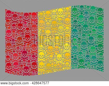 Mosaic Waving Guinea Flag Designed With Piracy Elements. Mortal Vector Waving Collage Guinea Flag Do