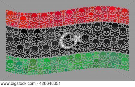 Mosaic Waving Libya Flag Created With Death Icons. Hazard Vector Waving Collage Libya Flag Organized