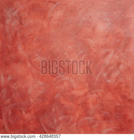 Background With Textured Terracotta Plaster With Light Marble Dust