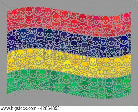 Mosaic Waving Mauritius Flag Constructed Of Skull Elements. Risk Vector Waving Mosaic Mauritius Flag