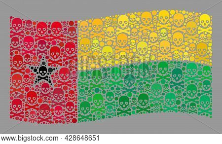 Mosaic Waving Guinea-bissau Flag Designed With Piracy Icons. Mortal Vector Waving Collage Guinea-bis