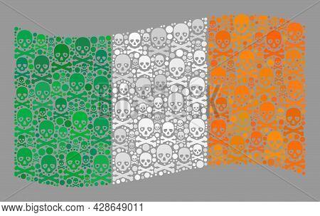 Mosaic Waving Ireland Flag Constructed Of Skull Elements. Mortal Vector Waving Mosaic Ireland Flag D