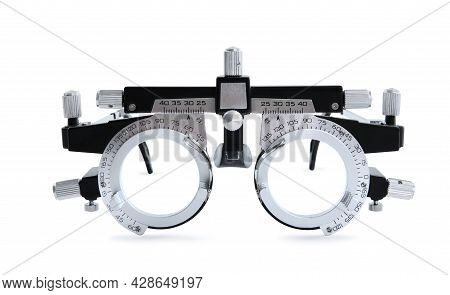 Trial Frame Isolated On White. Ophthalmologist Tool