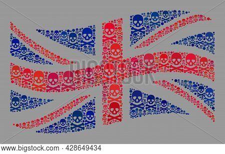 Mosaic Waving Great Britain Flag Constructed Of Piracy Icons. Mortal Vector Waving Mosaic Great Brit