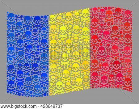 Mosaic Waving Romania Flag Created Of Piracy Icons. Mortal Vector Waving Mosaic Romania Flag Designe
