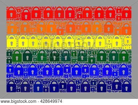 Mosaic Secrecy Lgbt Flag Constructed Of Lock Icons. Vector Collage Straight Lgbt Flag Combined For S
