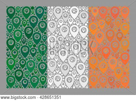 Mosaic Pointer Ireland Flag Constructed Of Position Elements. Vector Mosaic Rectangle Ireland Flag C