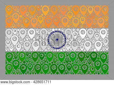 Mosaic Targeting India Flag Designed With Flag Elements. Vector Mosaic Straight India Flag Organized