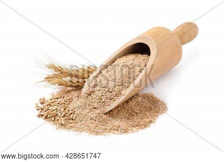 Wooden Scoop With Wheat Bran On White Background