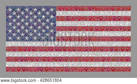 Mosaic Pointer Usa Flag Designed With Cursor Elements. Vector Collage Rectangle Usa Flag Constructed