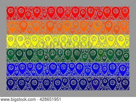 Mosaic Navigation Lgbt Flag Constructed With Flag Icons. Vector Mosaic Straight Lgbt Flag Designed F