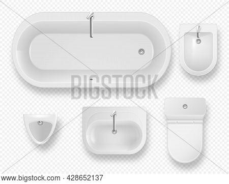 Set Of Bathroom Equipment Top View. White Ceramics Bathtub, Toilet Bowl, Bidet, Sink With Tap And Ur