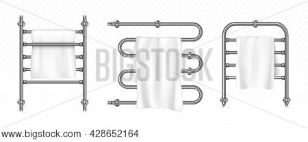 Towel Hangs On Dryer With Metal Rails. Chrome Radiators With White Napkins For Bathroom Or Toilet Ro