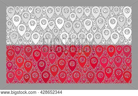 Mosaic Targeting Poland Flag Designed With Position Items. Vector Collage Rectangular Poland Flag Cr