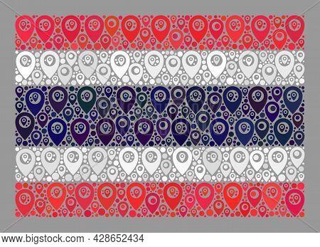Mosaic Navigation Thailand Flag Designed Of Gps Items. Vector Collage Rectangular Thailand Flag Cons