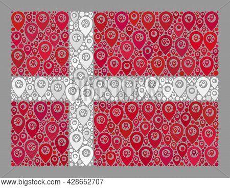 Mosaic Navigation Denmark Flag Designed Of Placement Items. Vector Collage Rectangle Denmark Flag Do