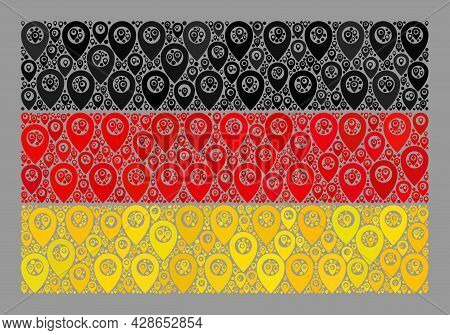 Mosaic Guide Germany Flag Constructed With Map Items. Vector Mosaic Rectangle Germany Flag Designed
