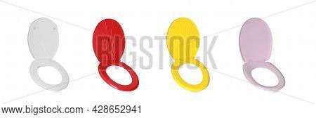 Set With Different Plastic Toilet Seats On White Background. Banner Design