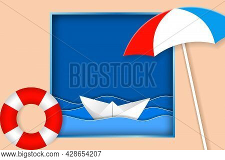 Summer Vacation Illustration. Sea Landscape With Beach Umbrella, Lifebuoy And Paper Ship In Ocean Wa