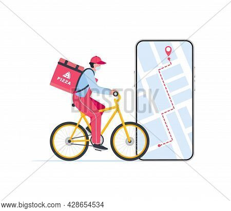 Courier On Bicycle With Parcel Box On The Back Delivering Food In City.