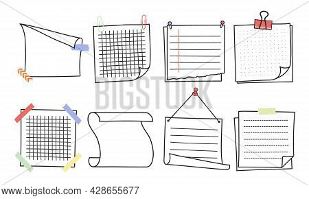 Doodle Hand Drawn Memo Notes And Reminders Vector Illustration Set. Simple Drawing Doodle Style Sket