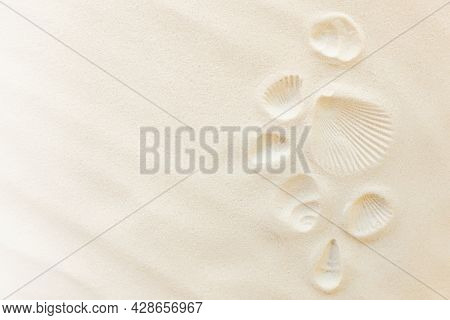 Travel Flat Lay, Vacation Concept. Sea Shell Print On Sand And Conch Imprint. Travelling To Warm Cou