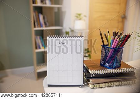 Calendar Desk Place On Table. Desktop Calender For Planner To Plan Agenda, Timetable, Appointment, O