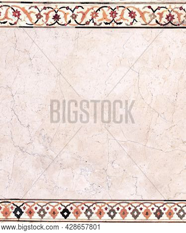 Vertical or horizontal background with ancient decorative mosaic on marble, India. Vertical banner with decorative stone ornament. Mock up template. Copy space for text