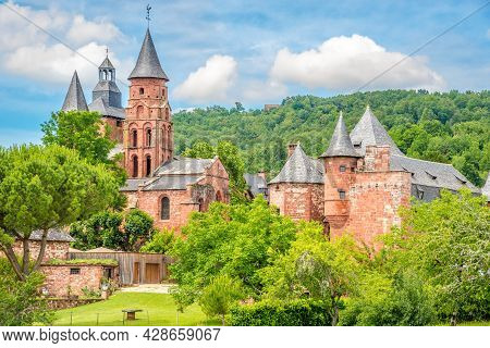 View At The Church Of Saint Pierre In Collonges La Rouge In France.