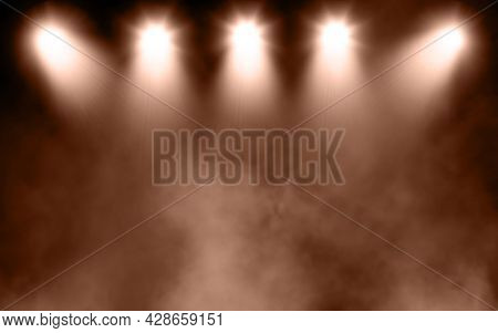 3D render of a display background with grunge smoky atmosphere with spotlights