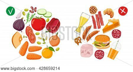 Healthy Food And Junk Food. Benefits Of Proper Nutrition. Diet Choice. Choose Foods That Are Body Us