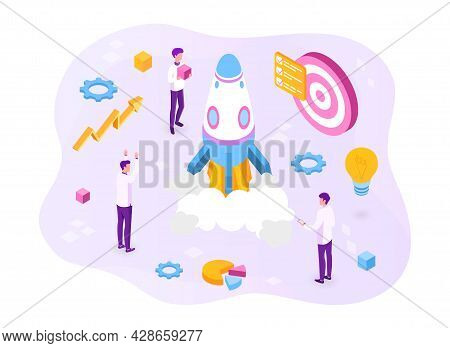 Startup Coaching And Mentorship Concept. Business Start Up Team Launching Rocket With Computer And S