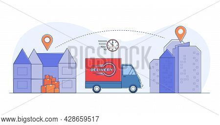 Fast Delivery Truck From Store To Home. Shop, Delivery Van And House. Concept Of Delivery Linear Rou