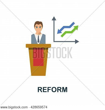 Reform Flat Icon. Color Simple Element From Activism Collection. Creative Reform Icon For Web Design