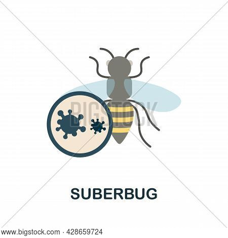 Suberbug Flat Icon. Colored Sign From Antibiotic Resistance Collection. Creative Suberbug Icon Illus