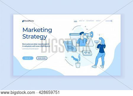 Sales Marketing Strategy. Business Social Communications With Service Optimization. Online Marketer