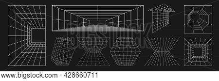 Set Of Retrofuturistic Design Elements. Collection Of Perspective Grids, Tunnels In Cyberpunk 80s St