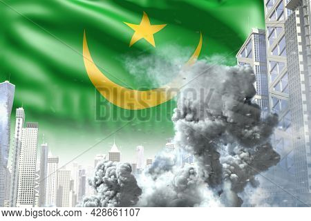 Large Smoke Pillar In The Modern City - Concept Of Industrial Blast Or Terrorist Act On Mauritania F