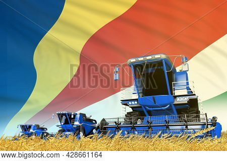 Blue Rye Agricultural Combine Harvester On Field With Seychelles Flag Background, Food Industry Conc