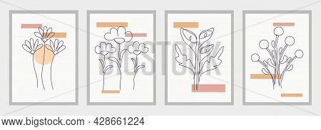 Set Of Floral Wall Art Posters On White Background. Earth Tone Boho Foliage Flower Line Art Drawing.
