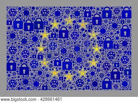 Mosaic Coronavirus Lockdown Europe Flag Designed Of Locks And Bacilla Elements. Vector Collage Strai