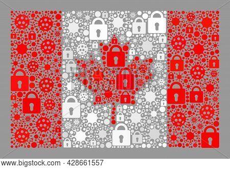 Mosaic Coronavirus Lockdown Canada Flag Designed Of Locks And Virulent Icons. Vector Mosaic Rectangu