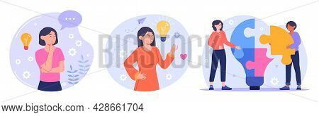 Set Of Male And Female Characters Having Brain Activity. Concept Of Thinking, Problem Solving, Brain