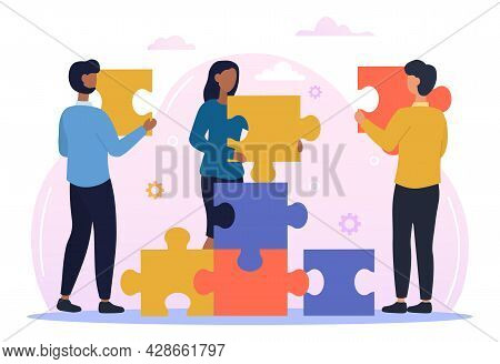 Male And Female Characters Are Connecting Puzzle Elements Together. Group Of People Assembling Puzzl